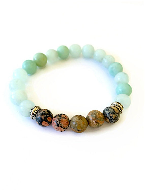 amazonite gemstone bracelet leopard jasper by julemijewelry