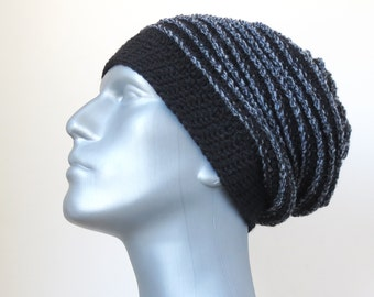 Black Beanie, Men's Winter Hat, Wool Slouchy Hat, Men's Gifts, Handmade Slouchy Beanie with Stripes