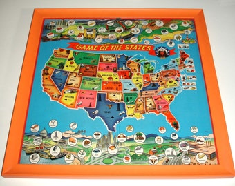 Vintage Colorful Board Game - GAME of the STATES - United States beautifully framed