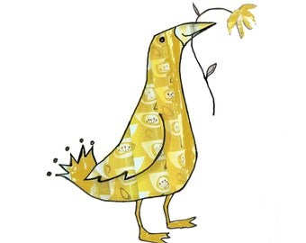 LOVELY SUNSHINE BIRD , A gorgeous yellow retro patterned bird .Friendly looking bird holding a flower..Printed card from collage original.