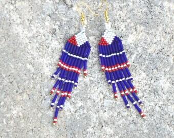Beaded earrings, hand made jewelry, seed bead earrings, tribal, patriotic, Americana, hippie, boho, chic