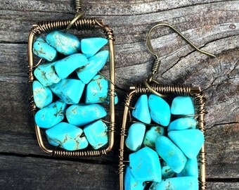 Blue Howlite Brass Earrings