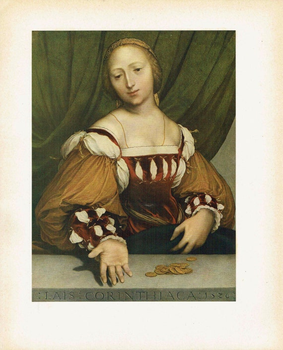 Antique print of painting by Hans Holbein the Younger of Dorothea of Offenburg, beautiful woman of easy virtue, high quality print, 1926