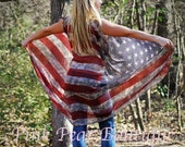 American Flag Semi Sheer Sleeveless Cardigan Vintage Distressed Kimono Top Cover Up Wrap 4th of July
