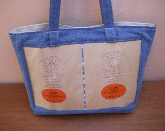 SALE Coffee Bags and Blue Jean Denim Bag Purse Tote Recycled Upcycled Repurposed