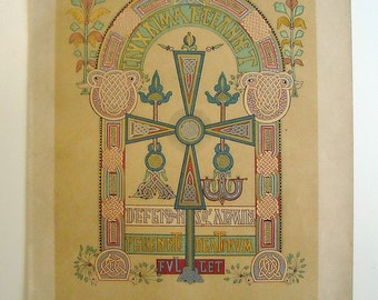 1879 Precious copy of a page from a twelfth-century HOLY BIBLE. Authentic chromolithograph of nineteenth century