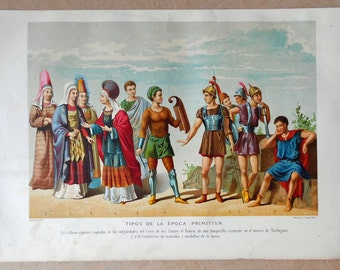 1879 IBERIANS, EGYPTIANS, CELTS... Wonderful Colors. Authentic chromolithograph of nineteenth century