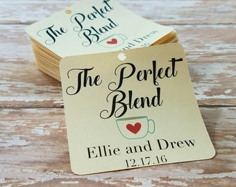 The Perfect Blend Tag, Coffee Bar, Hot Chocolate Winter Wedding Tag, Wedding Favor, Blanket Party Favor, Scarf Favor, Holiday Wedding, (051)
