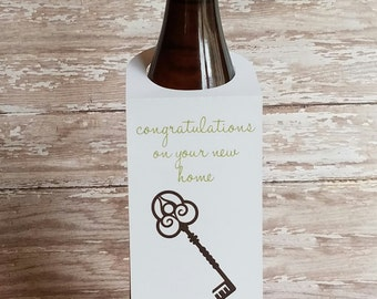 Congratulations on your New Home Wine Bottle Tag, Housewarming Gift, Wine tag, Gift, New Home, Wine Label, Moving Gift, Hostess Gift (B015)