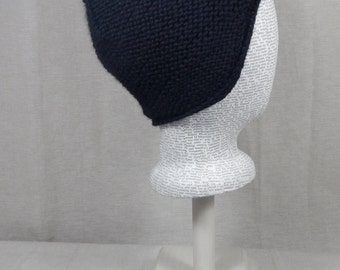 Merino Wool and Cashmere Blend Black Pixie Hat
