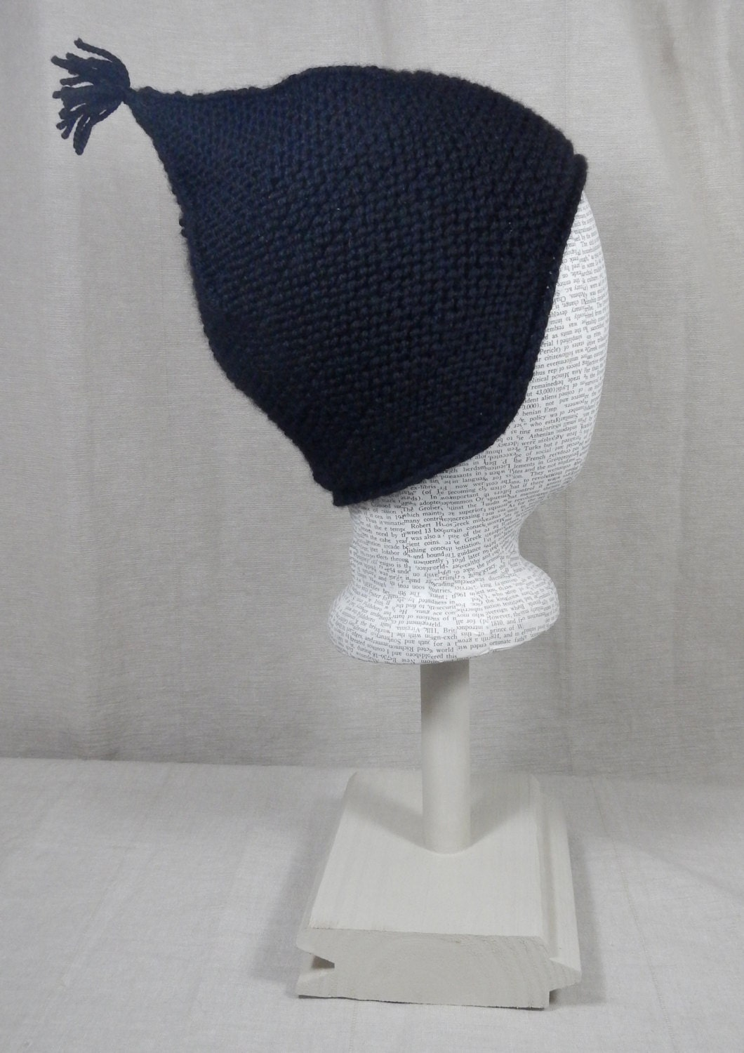 8f002542bd9 Merino Wool and Cashmere Blend Black Pixie Hat