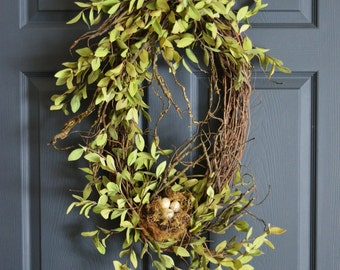 Oval Wreath | Front Door Wreaths | Spring Wreath | Birds Nest Wreath | Wreath | Natural-Looking | Door Decor | Wreaths