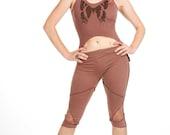 ORGANIC COTTON LEGGINGS yoga pixie leggings dusty pink psy trance leggings boho pixie pants lace leggings 34 festival yoga pants wear