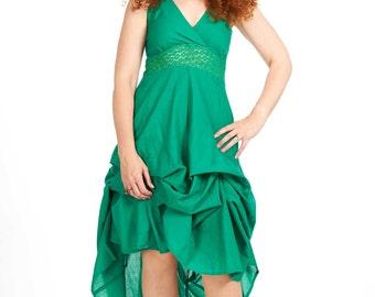 HIPPIE MAXI DRESS, long green strappy hippy dress, bohemian boho festival dress, lace and cotton goddess sun dress, little green dress lbd