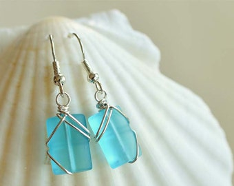 Blue sea glass earrings bridesmaids earrings aqua blue sea glass jewelry wedding jewelry bridesmaids jewelry beach wedding for the bride