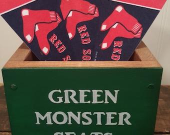 Fenway Park Boston Red Sox decor, Green Monster Seats, Gift for BoSox fan, Mancave decor, Memory box, Baseball gift, Wooden box, Party decor