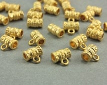 15 pcs Gold Bail Links, 24K Matte Gold Charm Holders, (8mm) Gold Barrel Charm Holders, Metal Gold Charm Holders, Gold Bail Link / GPY-058