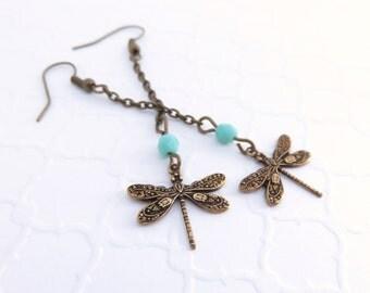 Long Dragonfly Earrings - Dragonfly Dangle Earrings, Dragonfly Jewelry, Antiqued Brass Chain Earrings, Bohemain Jewelry, Turquoise Earrings