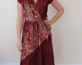 Vintage 70s Maroon Floral Wrap Dress V-Neck Sleeveless
