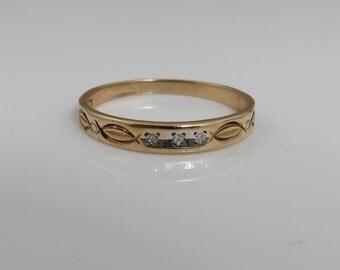 Vintage 1940's 10k Gold Diamond Stacking Band Ring.