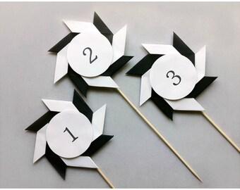 Wedding Table Numbers / Black Table Numbers / Set of 5 / Ninja Stars / Table Signs / Stick Table Numbers / Wedding Table Decorations