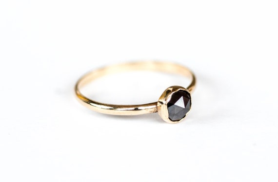 14k yellow gold black rose cut diamond engagement ring, rose cut diamond ring, black diamond engagement ring
