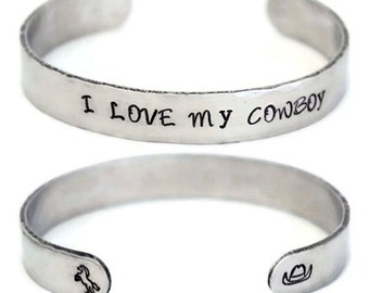Aluminum Cuff Bracelet I Love My Cowboy Hand Stamped Personalized Engraved Jewelry Gift For Cowgirl Gifts Under 10 Cowboy Hat Horse Jewelry