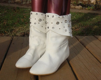 Vintage White LEATHER Jewel Studded Slouch Boots~6.5~
