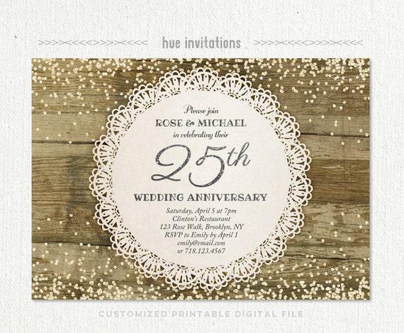 25th Wedding Invitations: 25th Wedding Anniversary Invitation Silver Anniversary Party