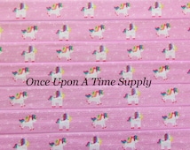 Unicorn Print Fold Over Elastic for Baby Headbands - 5 Yards of 5/8 inch FOE - Printed Light Pink Rainbow Colored Elastic By The Yard