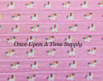 Unicorn Print Fold Over Elastic for Baby Headbands - Up to 5 Yards of 5/8 inch FOE - Printed Light Pink Rainbow Colored Elastic By The Yard