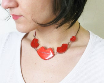 Red Lips Choker, Hot Kiss Choker, Short Adjustable Lipstick Necklace, Valentine's Day Gift, Plexi Resin Cute Girlfriend Gift Lips Jewelry