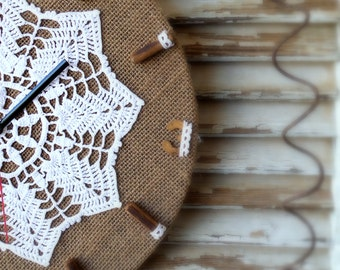 Rustic wood wall clock - Cottage Chic Wall Clock - Home Decor - Handmade Clock - crochet napkin clock - Wall decor - retro doily clock