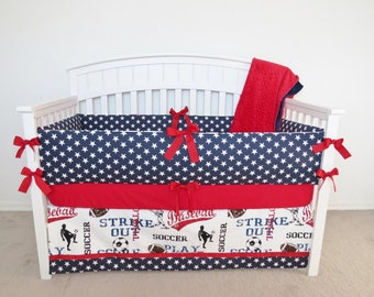 Crib bumper - Stars crib bumper set, crib bumpers, navy, blue, stars, fourth of july, patriotic