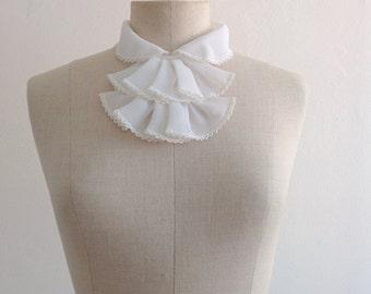 70s white chiffon jabot with lace, peter pan collar
