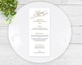 Menu card template| Wedding Menu card | Printable| DIY wedding| Editable color & Text| FEM| DS1