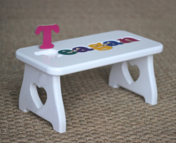 Personalized Puzzle Stool White Heart Step Stool Love