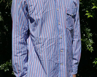 TOMMY HILFIGER long sleeve button down mens L/blue/red/white vertical striped print