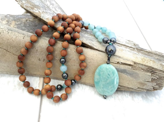 Petite Amazonite Mala Necklace, 108 Bead Mala, Fragrant Sandalwood & Hematite Mala, Hand Knotted Meditation Beads, Healing Spiritual Jewelry