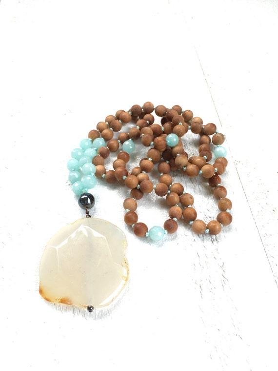 Sandalwood Mala Beads, Yellow Agate and Amazonite Mala Necklace, Sunshine Mala Beads, Fragrant Sandalwood Mala, 108 Bead Mala
