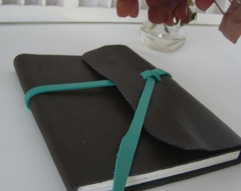 Handmade A6 write book-Brown green leather with green details of notebook leather-leather diary-write hand-bound blank book