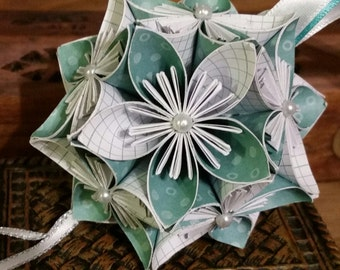 Teal and White Pattern Kusudama - Paper Flower Ball Ornament
