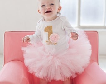 Baby Girl's First Birthday Outfit - Baby Birthday Outfit - Tutu and Headband - Light Pink Birthday Outfit - Gold 1 First Birthday Tutu