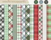 Christmas Plaid, Tartan, Gingham and Check - Digital Scrapbook Paper Pack - Commercial Use CU4CU