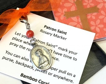 St. Elizabeth Ann Seton Rosary Marker/Zipper Pull with Bamboo Coral