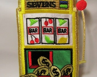 Slot Machine Casino Embroidered Patch, Iron On, Lucky Sevens Gambling, Gold Bling Badge, Applique. Payout Coins, Casino Winner, Betting
