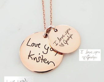 30% OFF! Handwriting Disc Necklace • Your Actual Handwriting Necklace • Signature Charm Necklace• Mother in Law Gift• Personalized Gift NM20