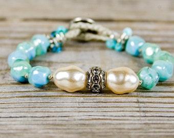 Aqua beachy bracelet, Organic rustic design, aqua blue bracelet, resort wear, sterling silver, hand knotted bracelet, classy style, petite