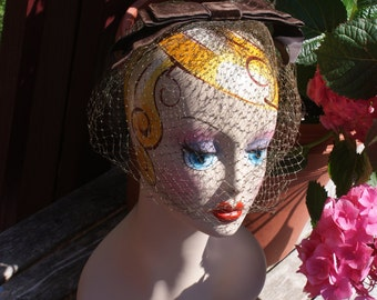 Vintage Brown Bow Hat / Fascinator With Double Veil / Netting