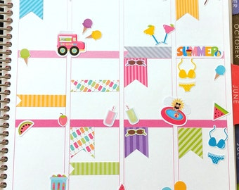 Summer, Stickers, Fits Erin Condren and others, Planner Stickers, Kiss Cut, Calendar Stickers, Life Planner Stickers, Scrapbooking